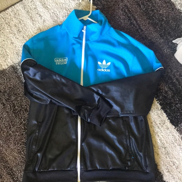 Blue and Black Adidas Chile 62 Zip Up Jacket
